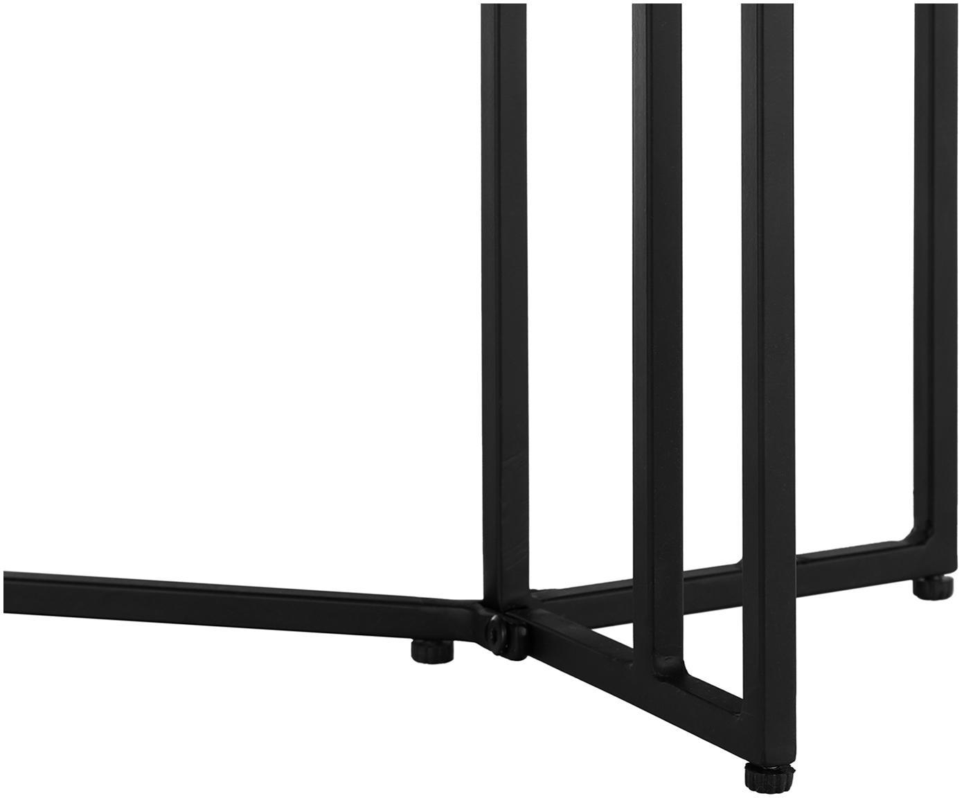 Konsole Luca mit Massivholzplatte, Ablagefläche: Massives Mangoholz, gebür, Gestell: Metall, pulverbeschichtet, Ablagefläche: Schwarz, lackiertGestell: Schwarz, matt, 100 x 80 cm