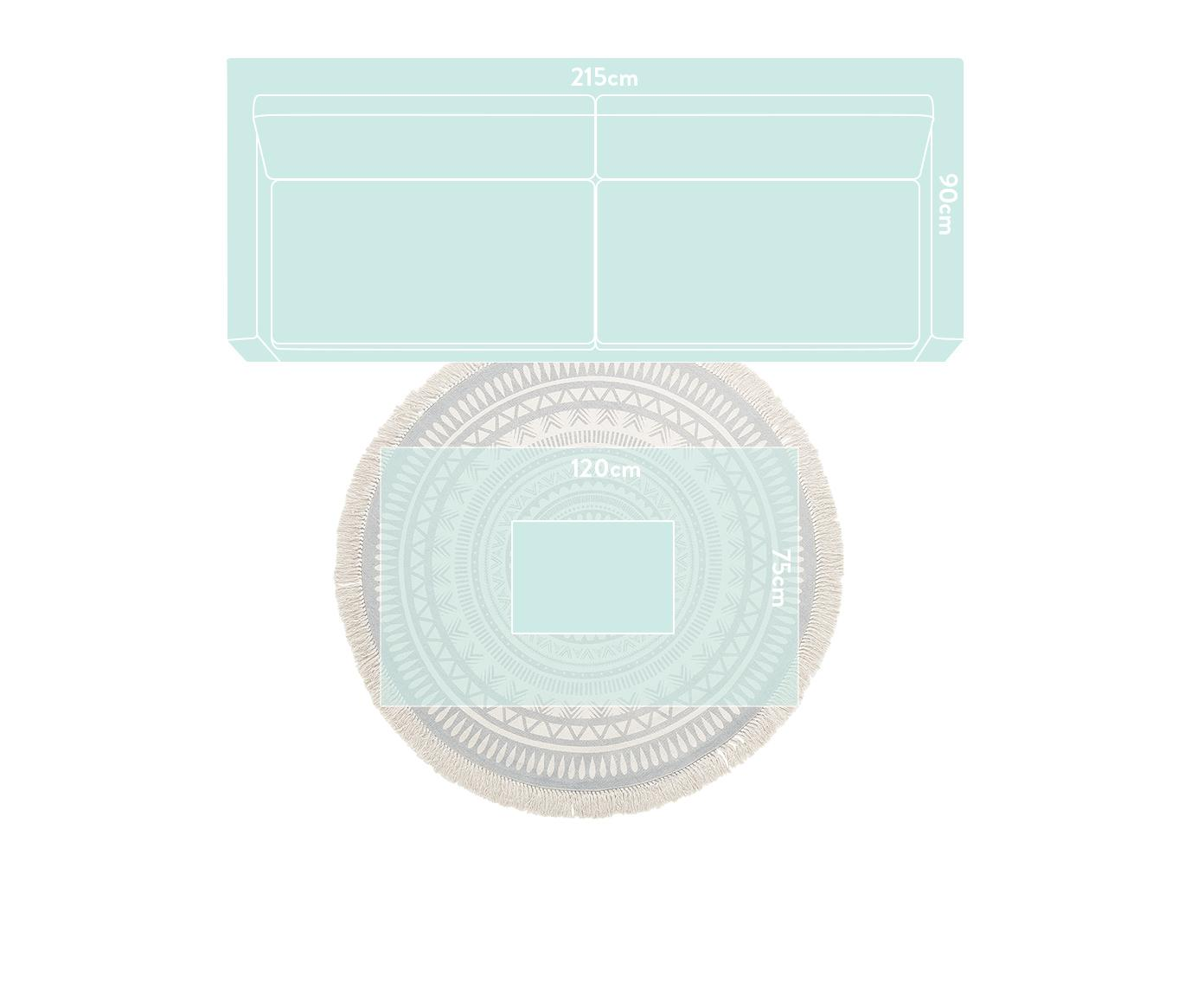 Alfombra redonda artesanal con flecos Benji, Gris claro, beige, Ø 150 cm (Tamaño M)