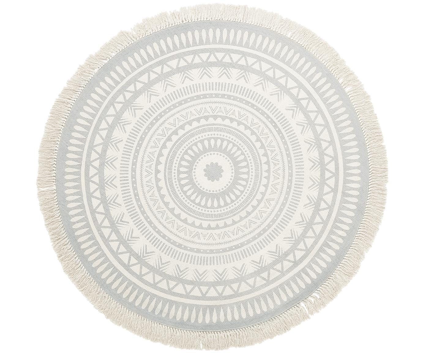 Rond vloerkleed Benji met franjes, handgeweven, Lichtgrijs, beige, Ø 150 cm (maat M)
