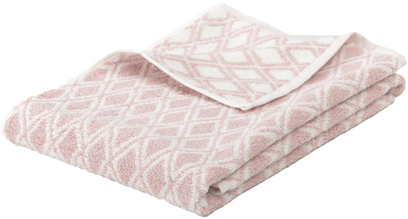Asciugamano reversibile con motivo grafico Ava, Rosa, bianco crema, Asciugamano