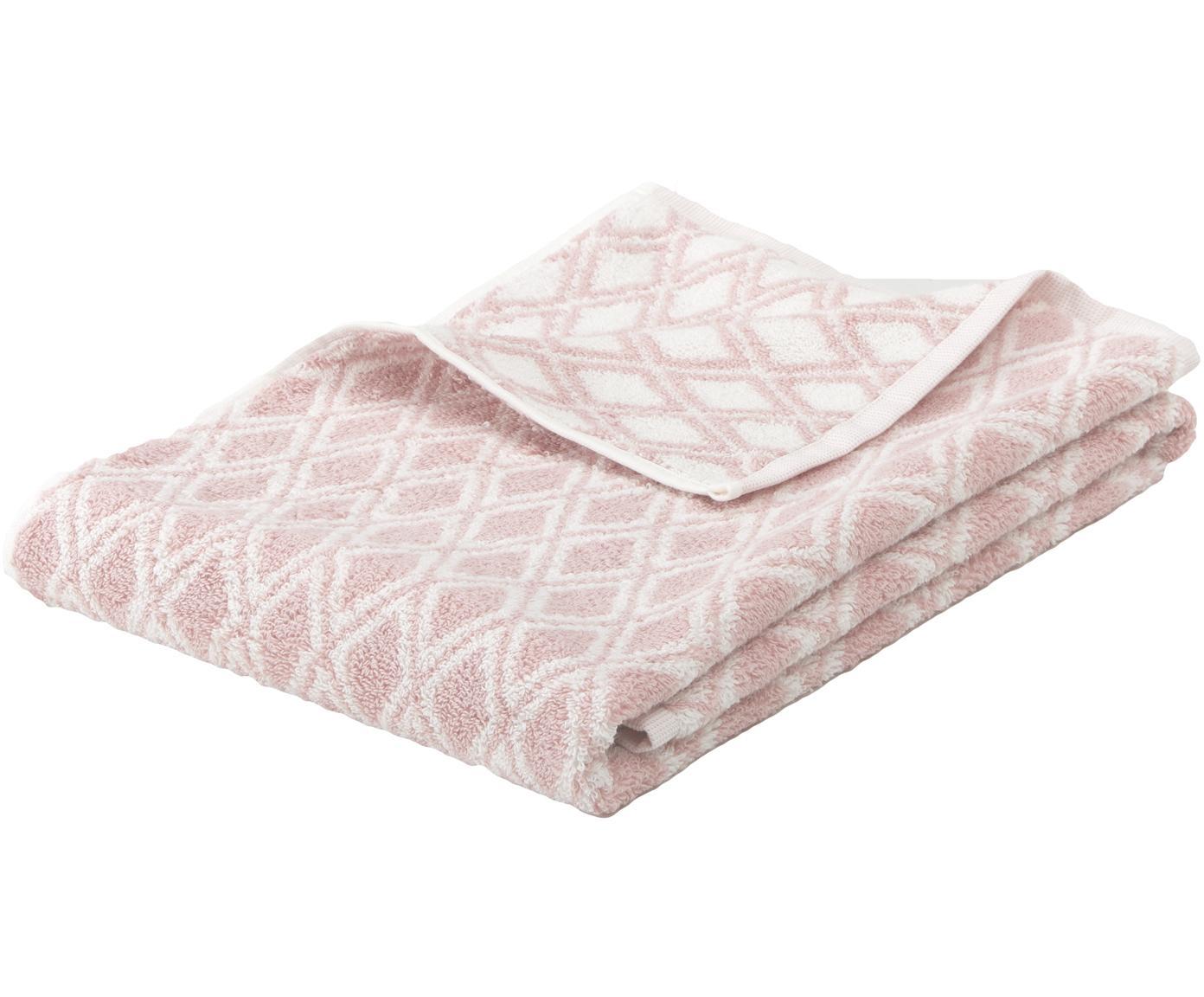 Dwustronny ręcznik Ava, Blady różowy, kremowobiały, Ręcznik do rąk