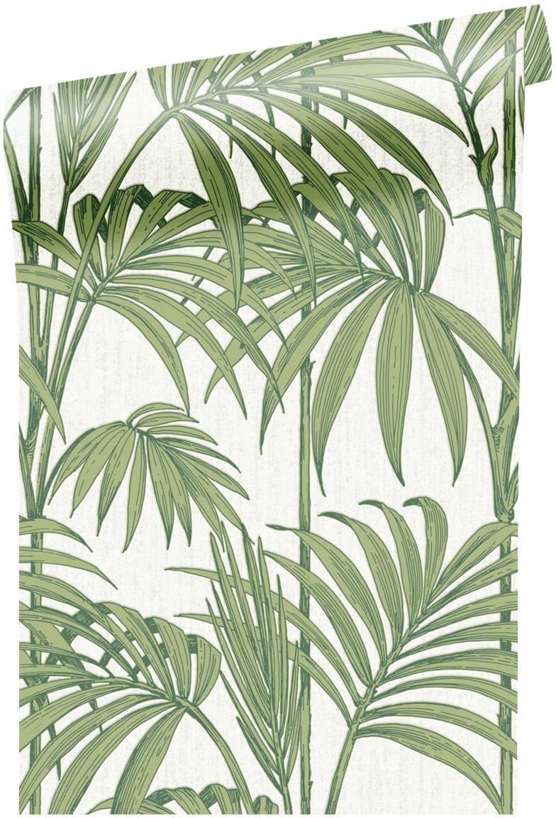 Papel pintado Honolulu, Papel, Verde, blanco, An 52 x L 1005 cm