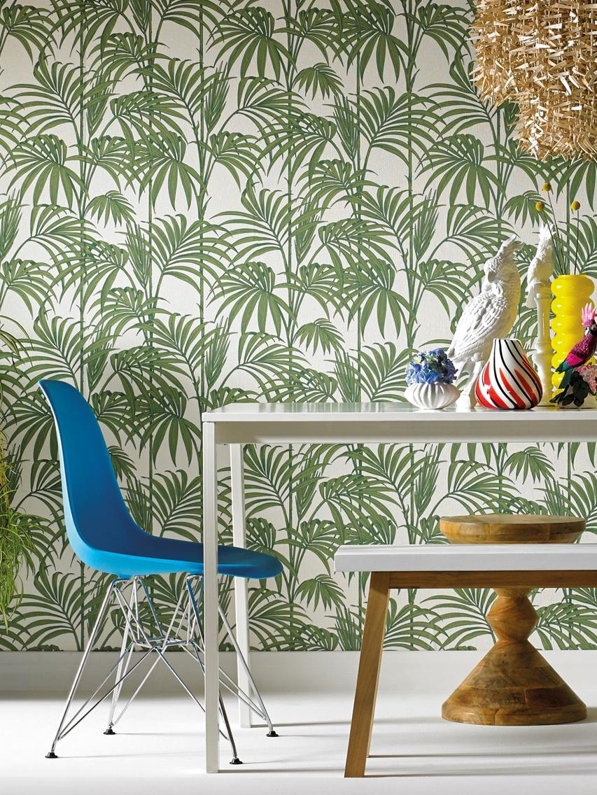 Tapete Honolulu, Papier, Grün, Weiß, 52 x 1005 cm