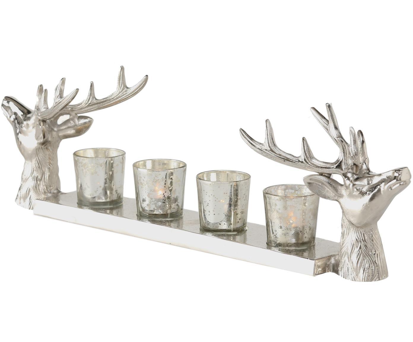 Set portacandele Hirsch 5 pz, Vassoio: alluminio, Portacandela: vetro, Argentato, Larg. 56 x Alt. 16 cm