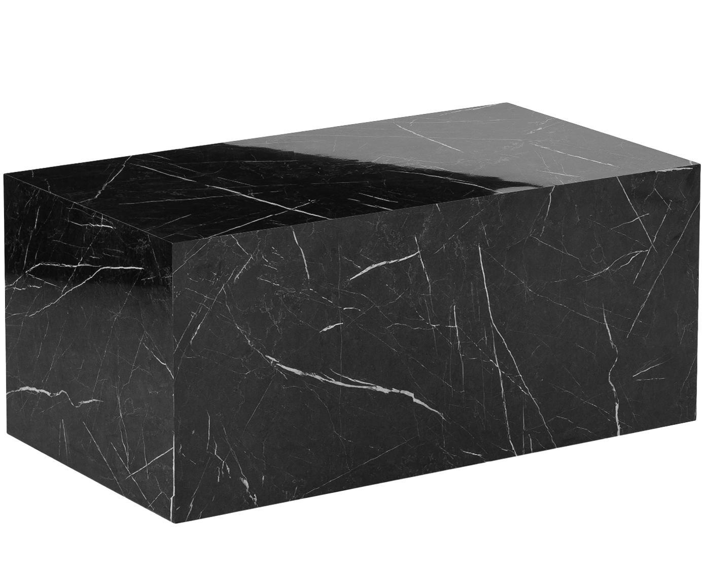 Tavolino da salotto effetto marmo Lesley, Pannello di fibra a media densità (MDF) rivestito con foglio di melamina, Nero marmorizzato, Larg. 90 x Prof. 50 cm