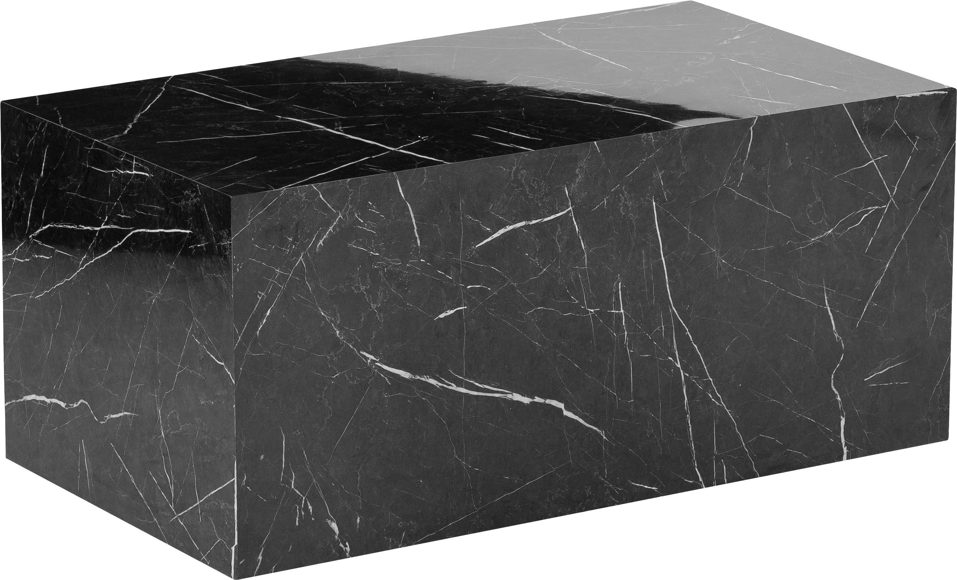 Couchtisch Lesley in Marmor-Optik, Mitteldichte Holzfaserplatte (MDF), mit Melaminfolie überzogen, Schwarz, marmoriert, 90 x 40 cm