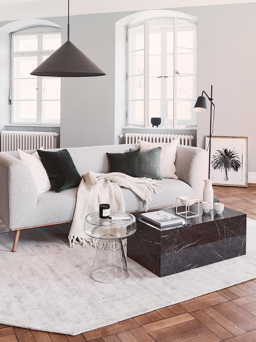 Table basse aspect marbre Lesley, Noir, marbré