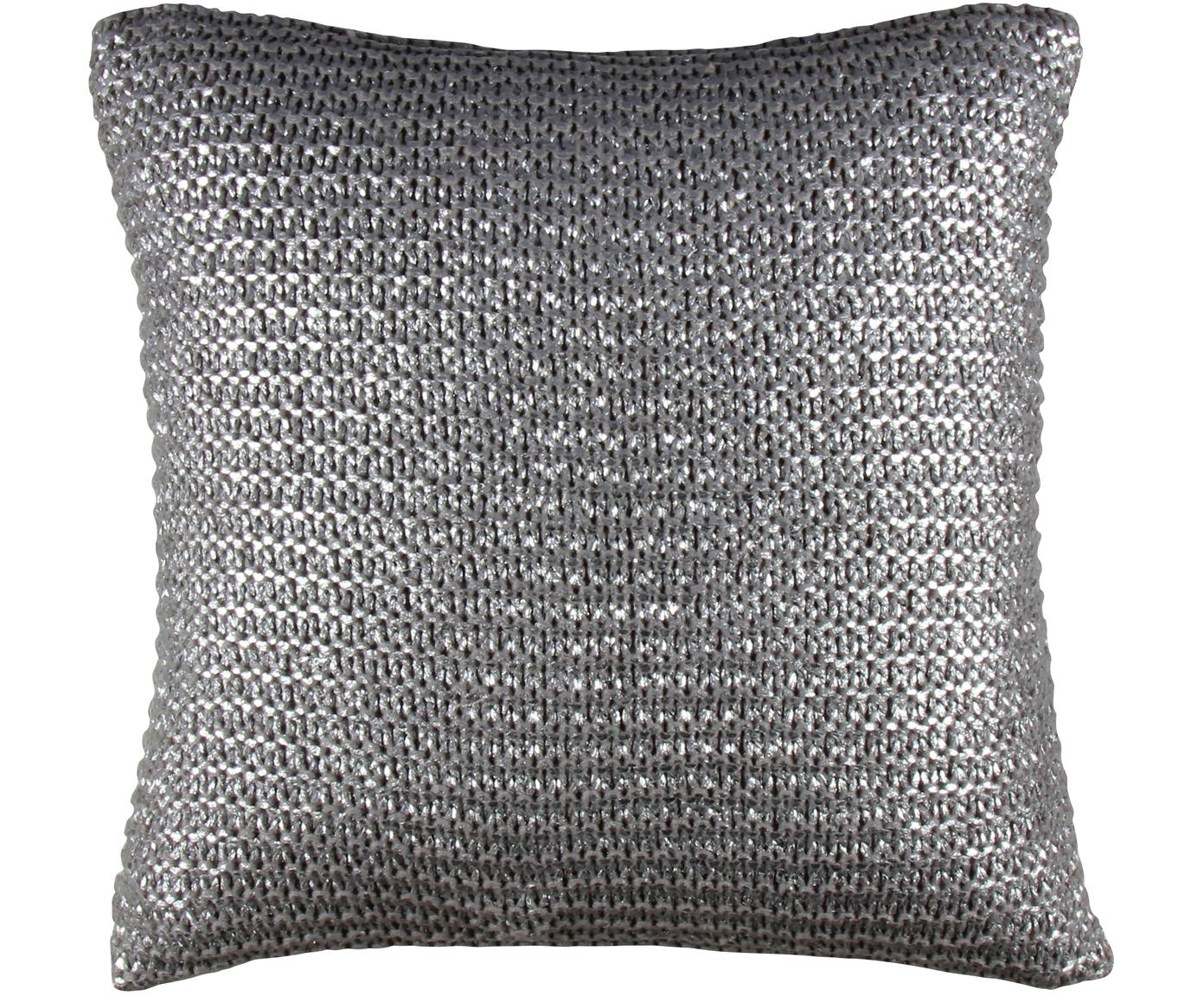 Schimmernde Kissenhülle Armour in Silber/Grau, Vorderseite: Acryl, Polyester, Rückseite: Baumwolle, Grau, 45 x 45 cm