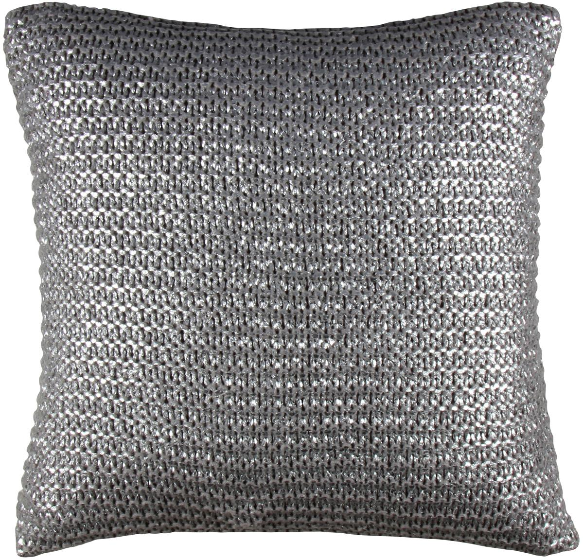Federa arredo luccicante argento/oro Armour, Retro: cotone, Grigio, Larg. 45 x Lung. 45 cm
