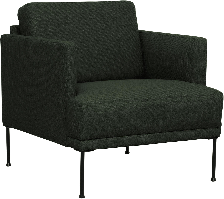 Fotel Fluente, Tapicerka: 100% poliester 40000 cyk, Stelaż: lite drewno sosnowe, Nogi: metal malowany proszkowo, Ciemny zielony, S 74 x G 85 cm