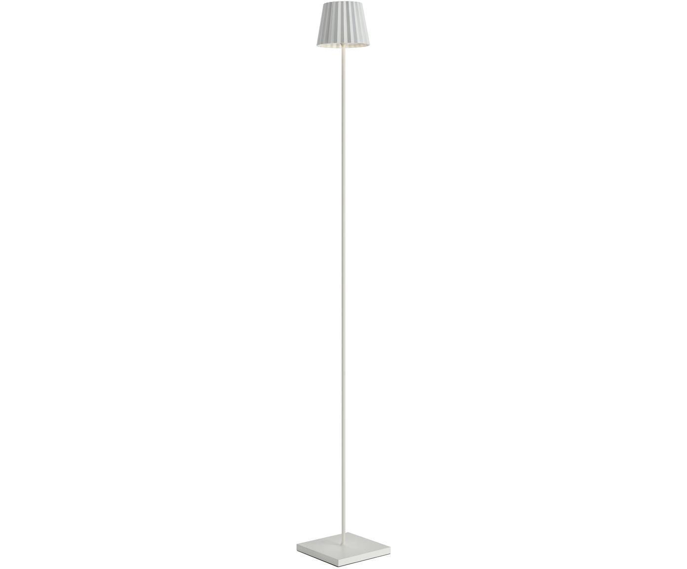 Zewnętrzna mobilna lampa podłogowa LED Trellia, Aluminium lakierowane, Biały, Ø 15 x W 120 cm