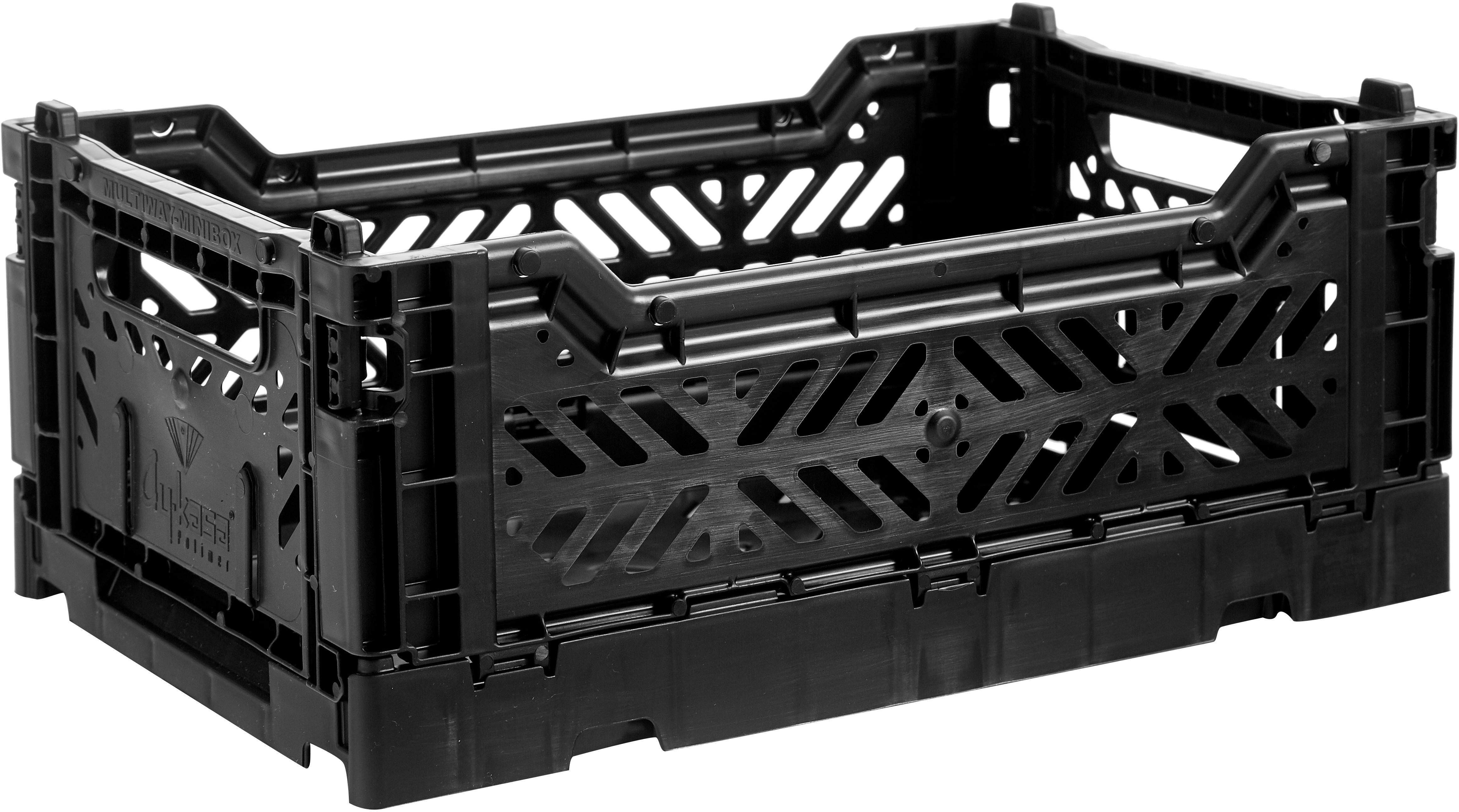 Caja pegable apilable Black, pequeña, Plástico reciclado, Negro, An 27 x Al 11 cm