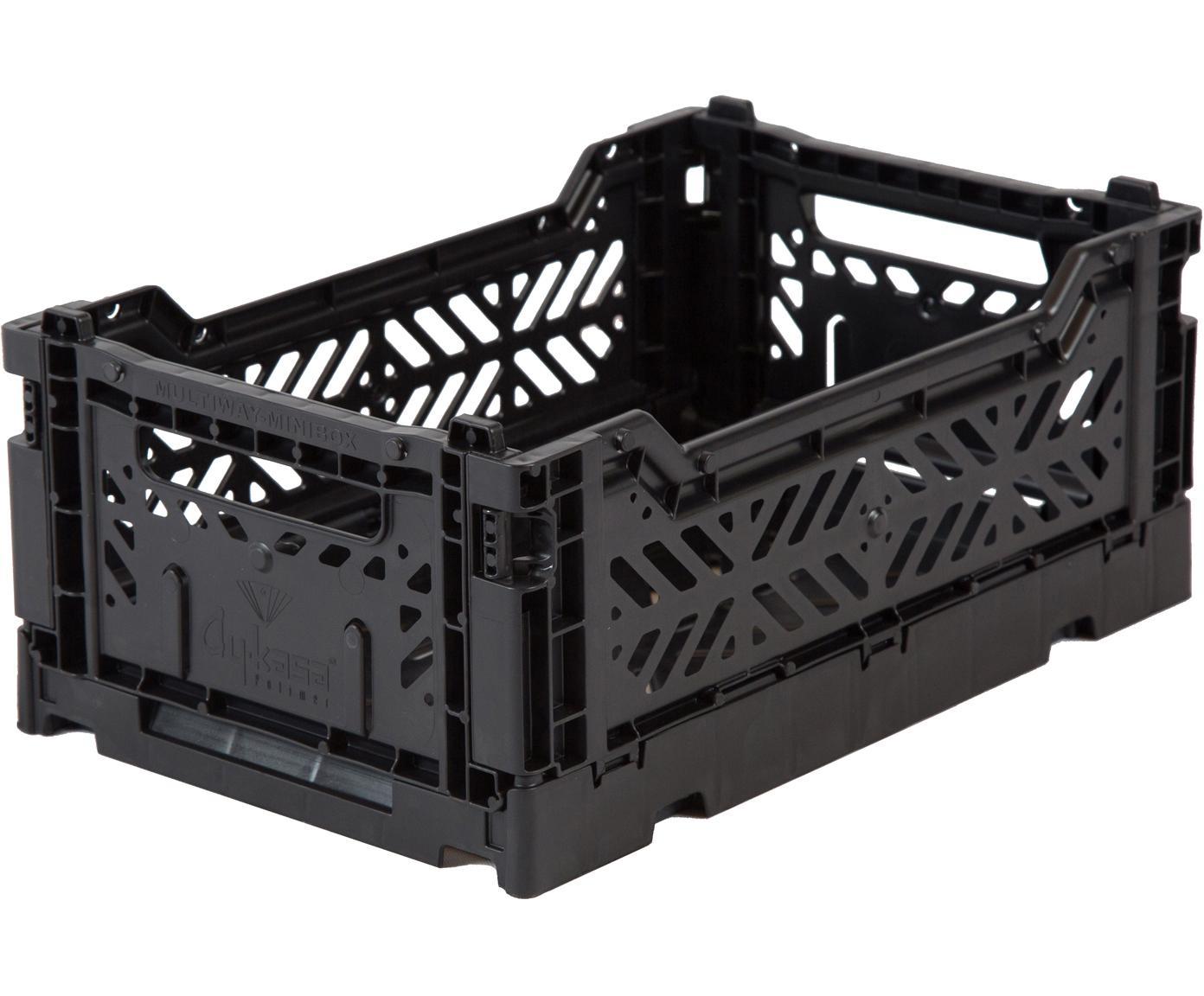 Klappkiste Black, stapelbar, klein, Recycelter Kunststoff, Schwarz, 27 x 11 cm