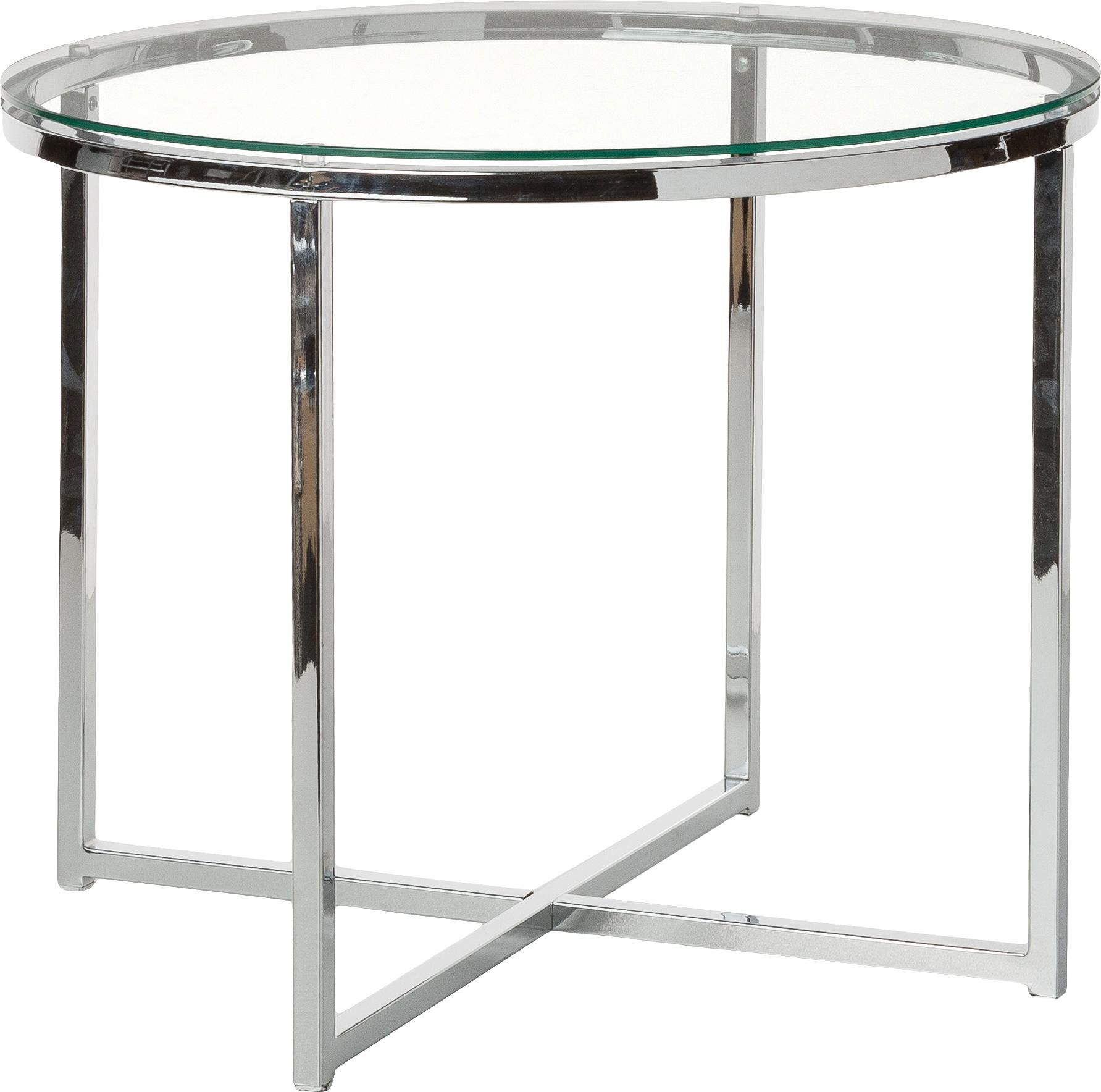 Mesa auxiliar Matheo, tablero de cristal, Estructura: metal, cromado, Tablero: vidrio laminado, Transparente, metal cromado., Ø 55 x Al 45 cm