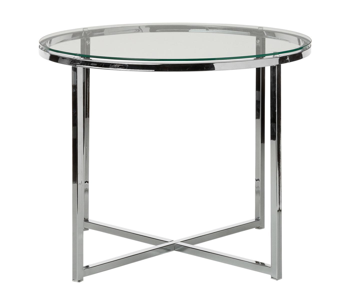 Tavolino con piano in vetro Matheo, Struttura: metallo cromato, Piano d'appoggio: vetro temperato, Trasparente, metallo cromato, Ø 55 x Alt. 45 cm