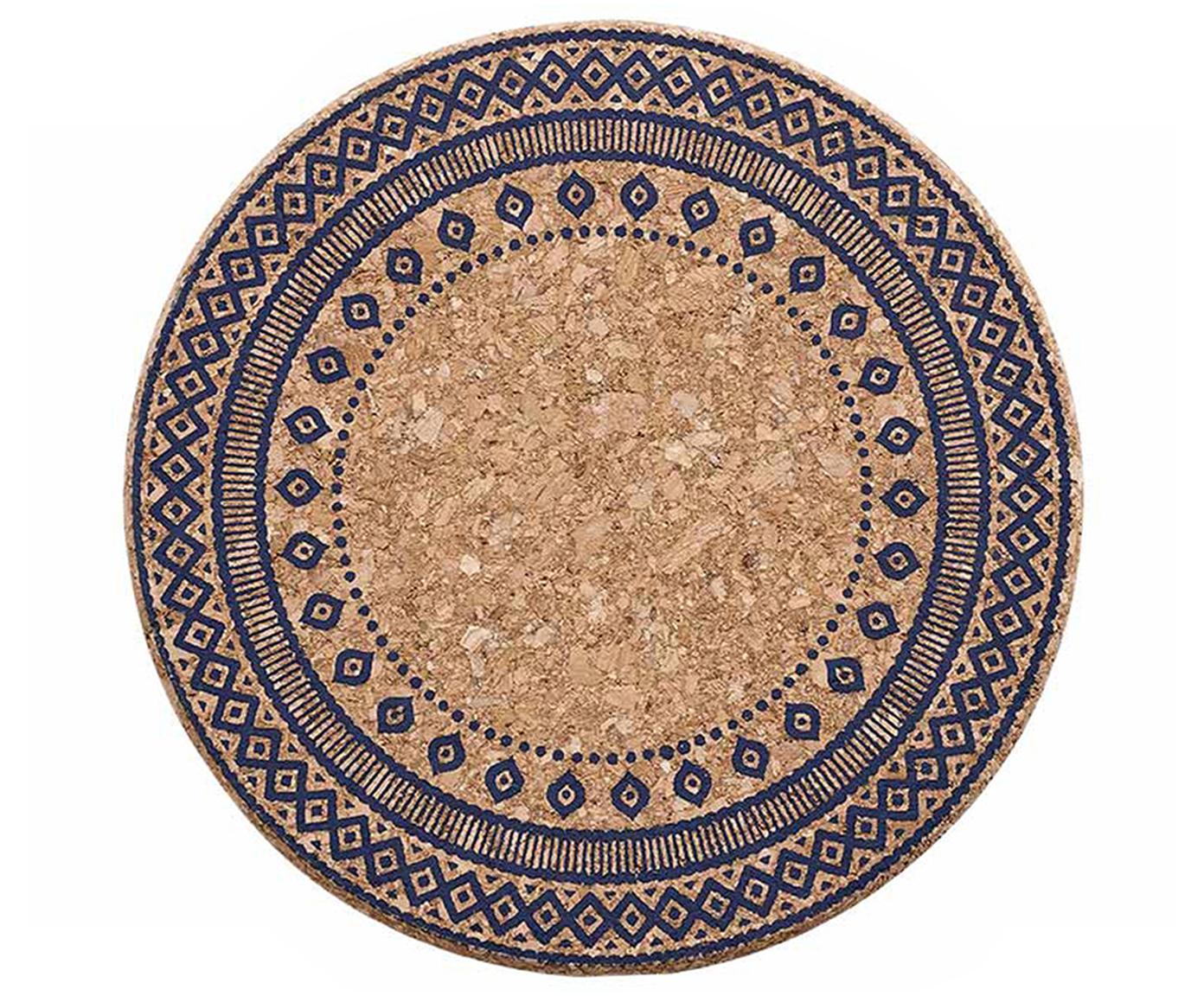 Salvamanteles Oasis, 2 uds., Corcho, Azul oscuro, corcho, Ø 20 x Al 2 cm