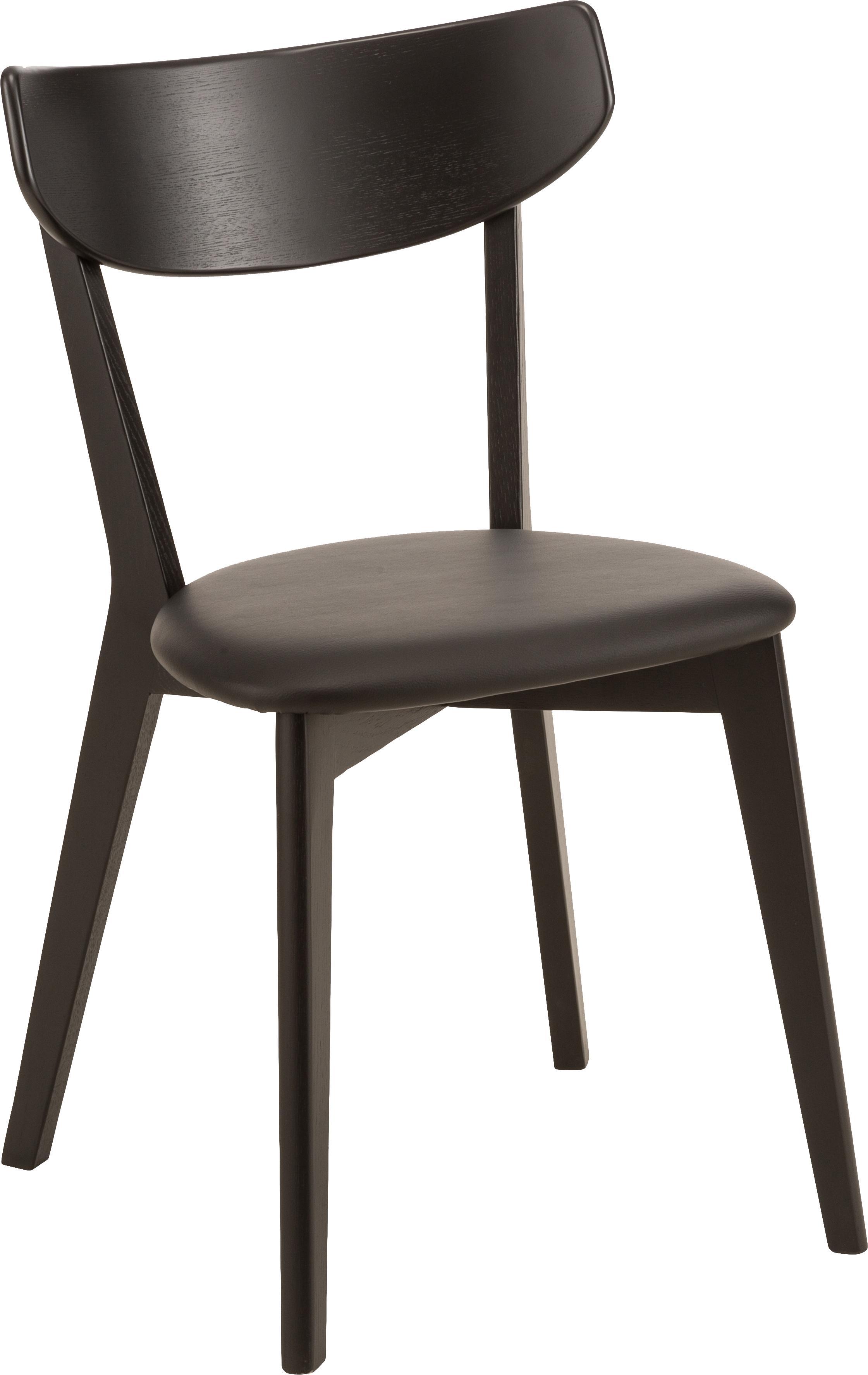 Krzesło Ami, 2 szt., Tapicerka: sztuczna skóra (poliureta, Czarny, S 48 x W 80 cm