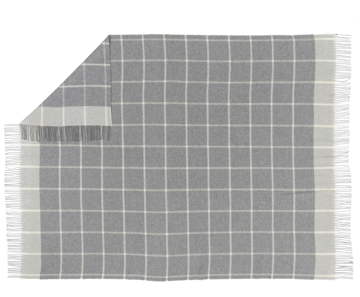 Pled z wełny Farison, 90% wełna, 10% kaszmir, Jasny szary, jasny szary, S 140 x D 200 cm