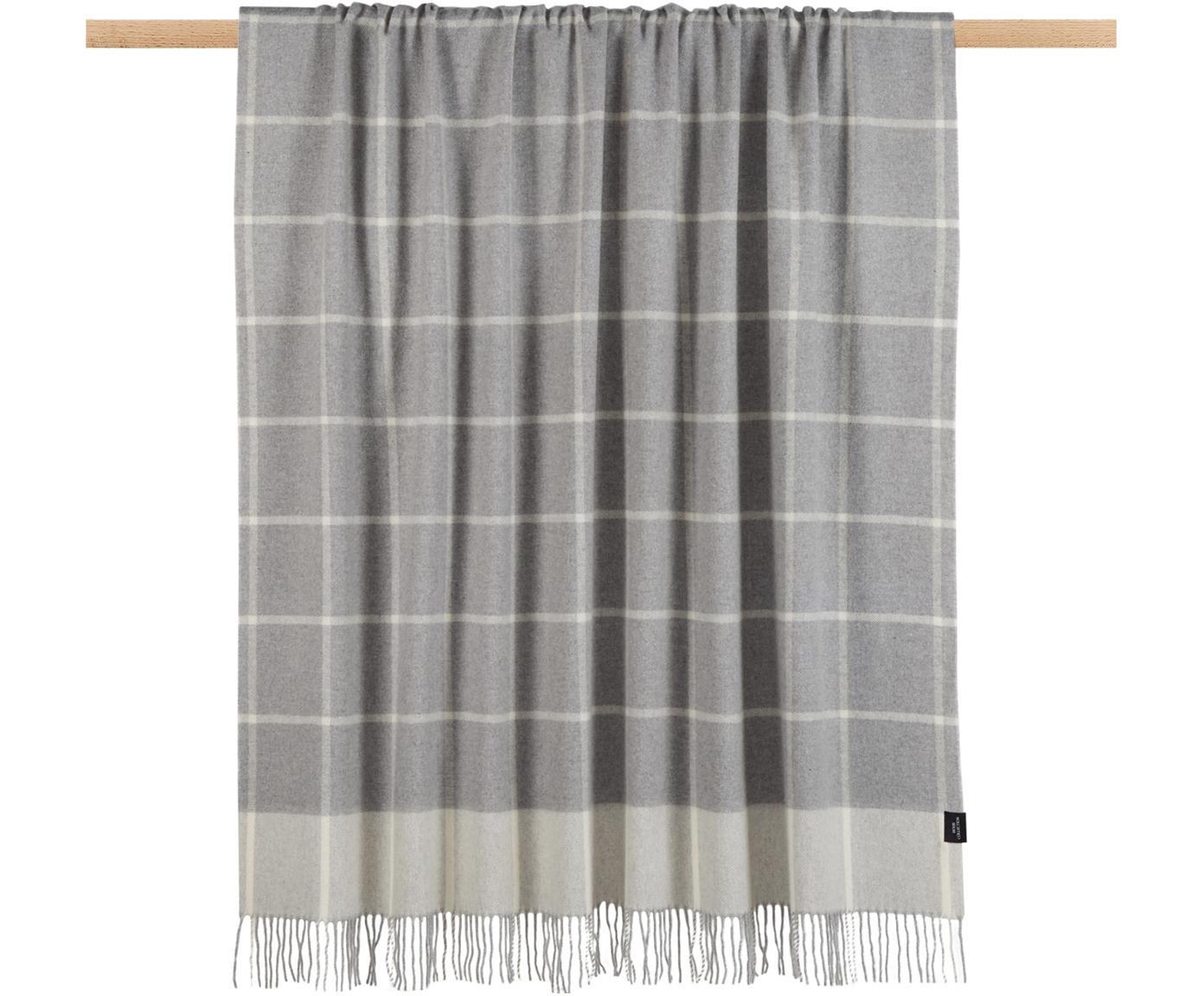 Kariertes Woll-Plaid Farison mit Kaschmiranteil, 90% Wolle, 10% Kaschmir, Hellgrau, Mittelgrau, 140 x 200 cm