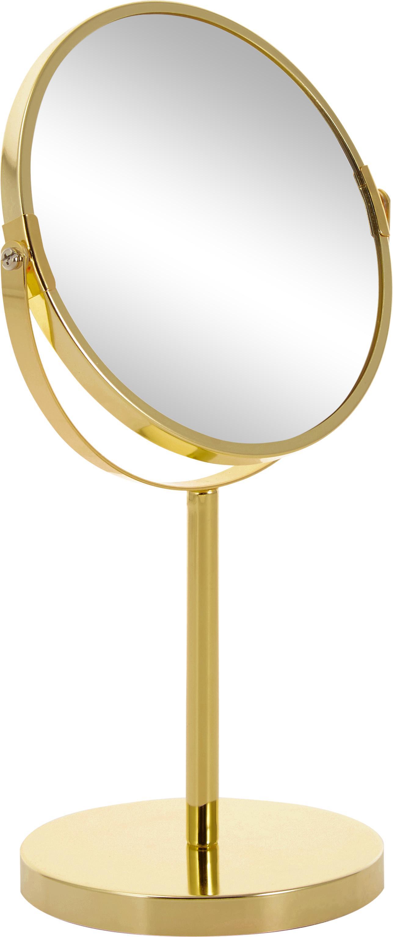 Specchio ingranditore da tavolo Classic, Cornice: metallo, Superficie dello specchio: lastra di vetro, Cornice: dorato, Specchio: lastra di vetro, Ø 20 x A 35 cm