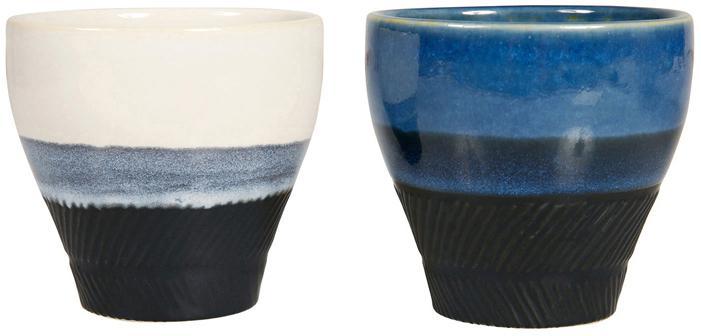 Set 4 tazze caffè Ekume, Ceramica, Blu, bianco, nero, Ø 8 x Alt. 8 cm