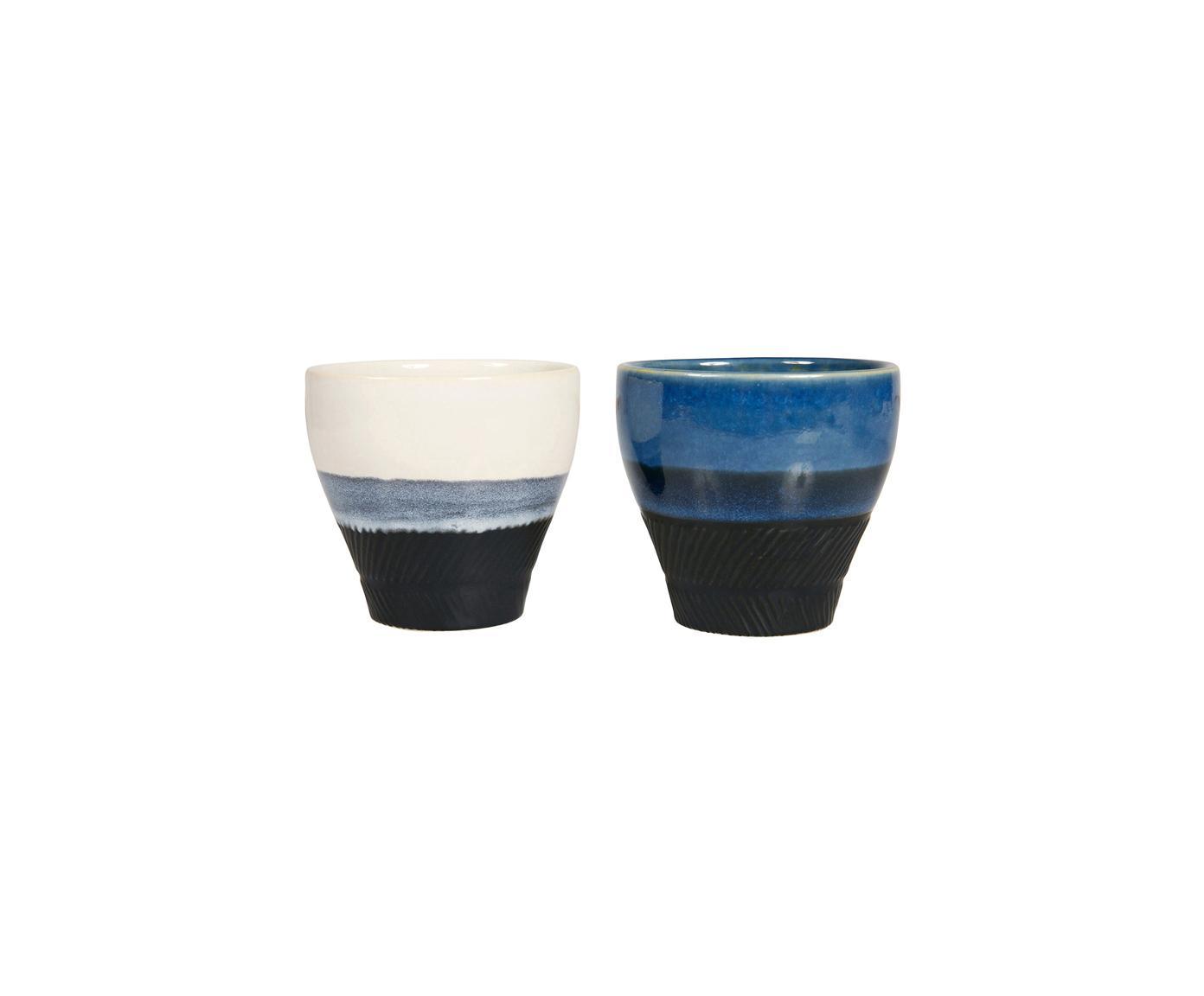 XS Becher Ekume, 4er-Set, Steingut, Blau, Weiß, Schwarz, Ø 8 x H 8 cm