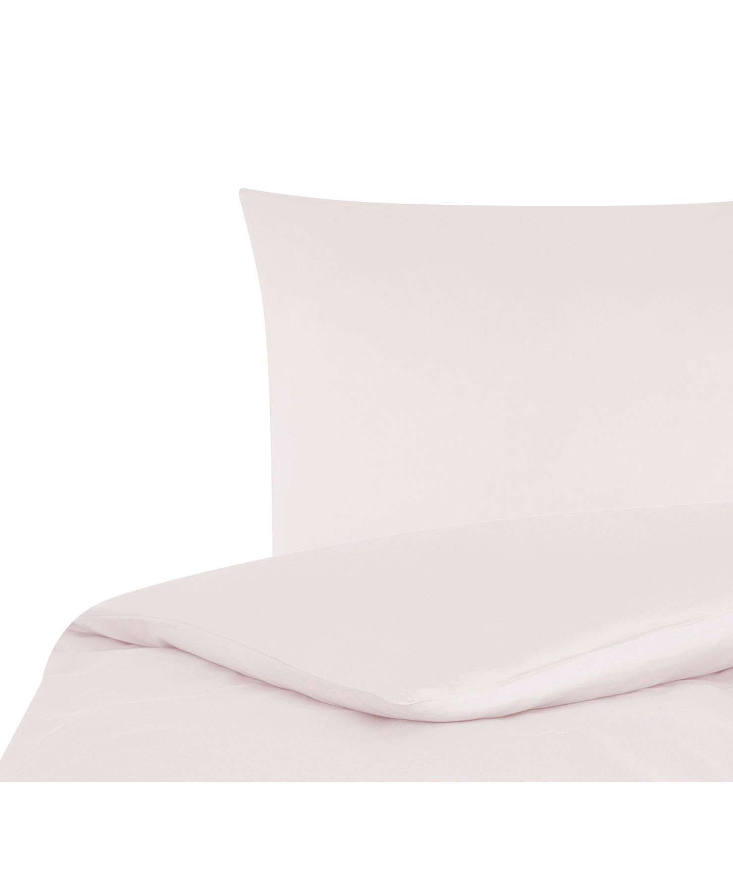 Parure copripiumino in raso di cotone Comfort, Rosa, 155 x 200 cm