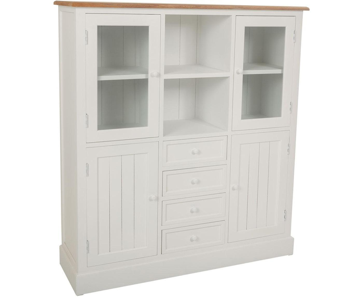 Vitrina Noa, Estructura: madera de paulownia, Blanco, Beige, An 115 x Al 131 cm