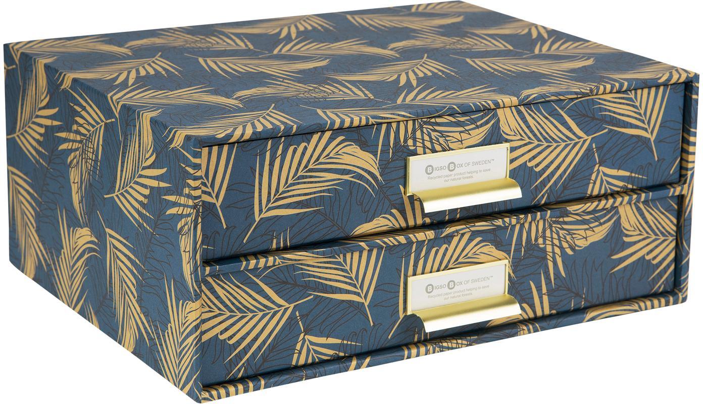 Organizer da ufficio Birger, Organizer: solido cartone laminato, Dorato, blu grigio, Larg. 33 x Alt. 15 cm
