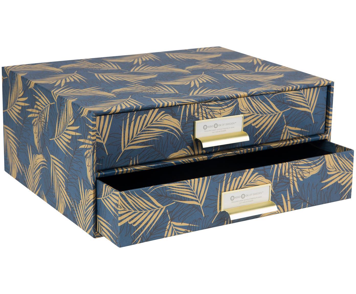 Bureau organizer Birger, Organizer: stevig gelamineerd karton, Goudkleurig, grijsblauw, 33 x 15 cm