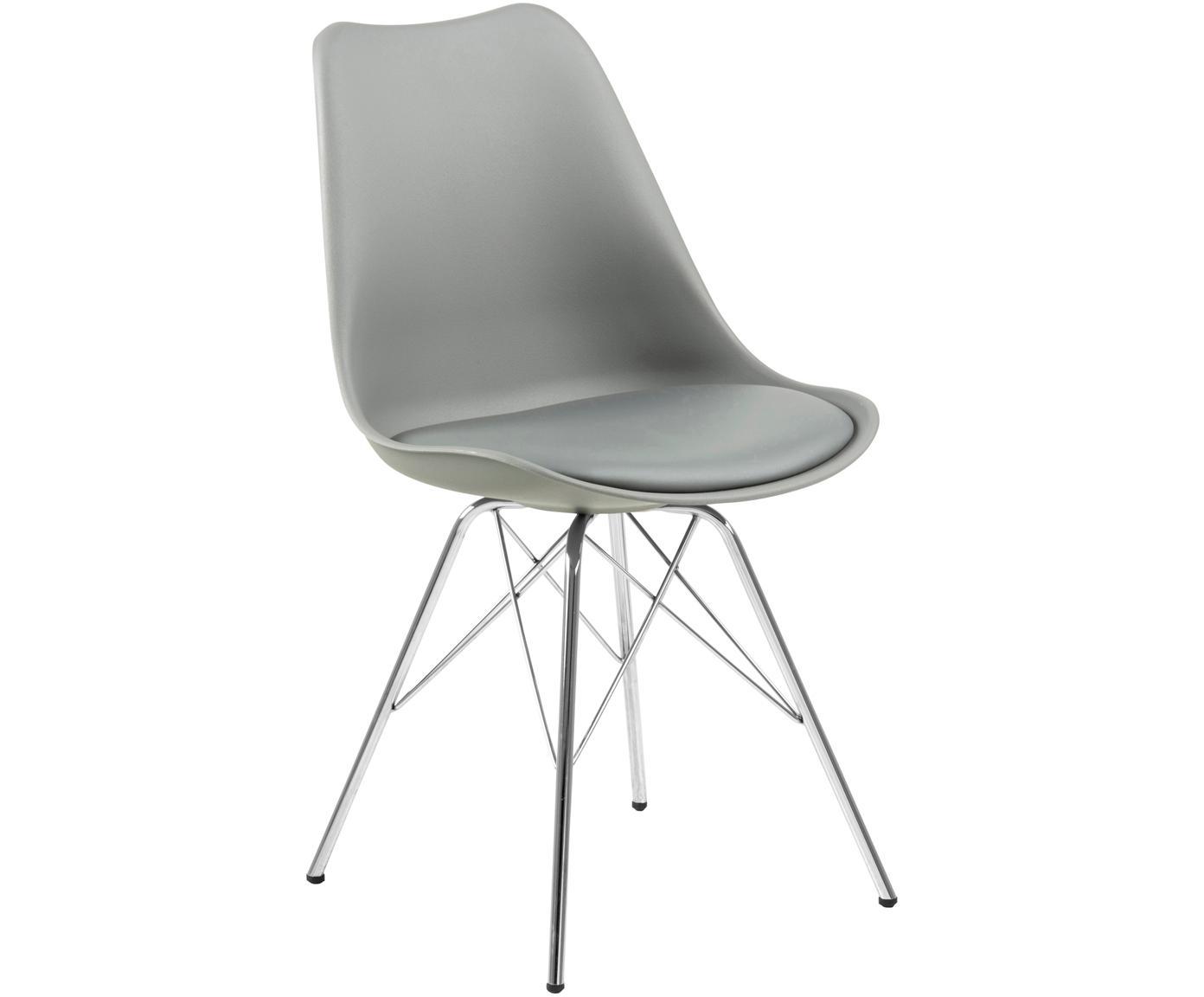 Kunststoffen stoelen Eris, 2 stuks, Zitvlak: kunststof, Zitvlak: kunstleer, Poten: verchroomd metaal, Grijs, chroomkleurig, B 54 x D 49 cm