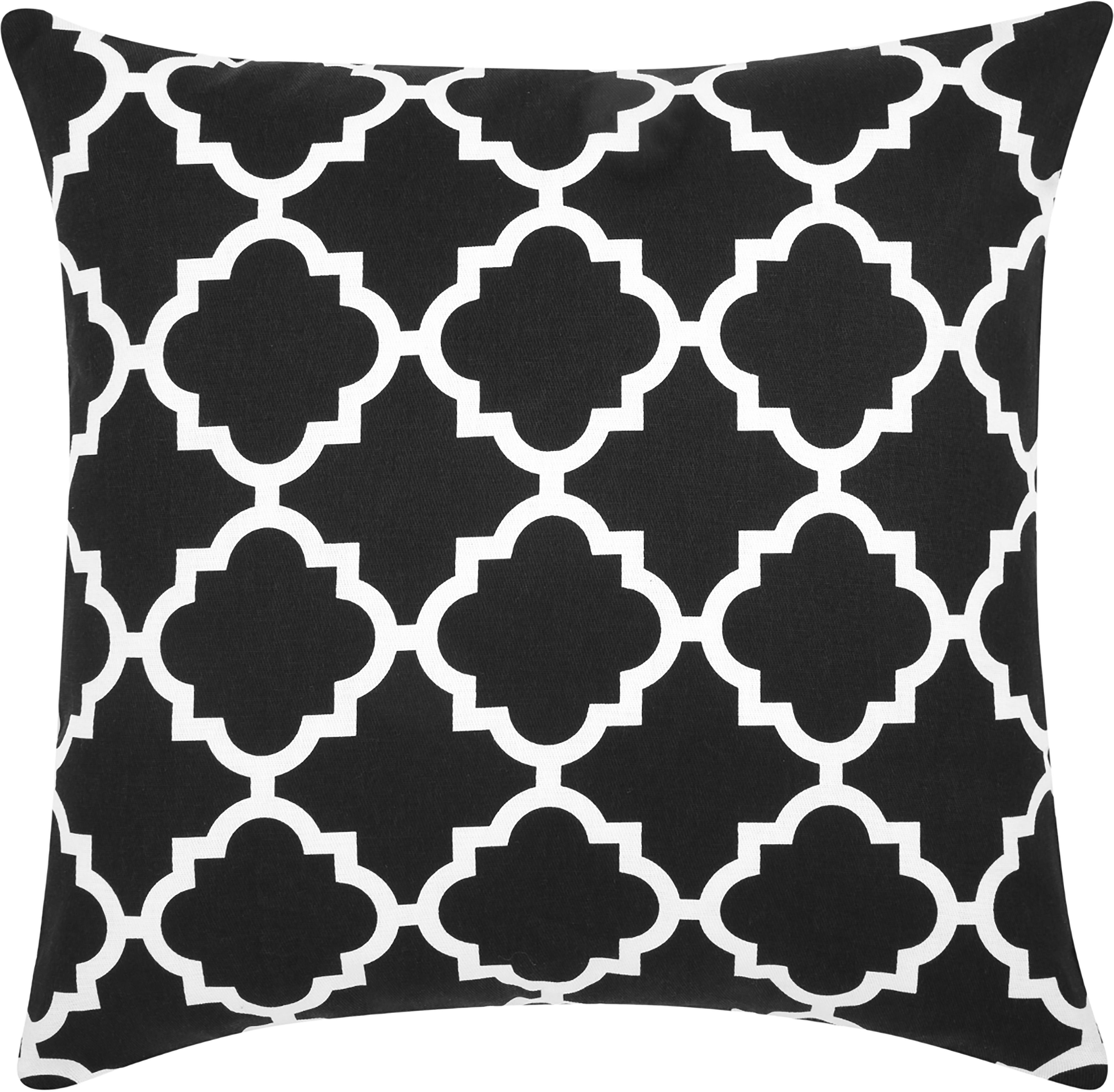 Kissenhülle Lana mit grafischem Muster, 100% Baumwolle, Schwarz, Weiß, 45 x 45 cm