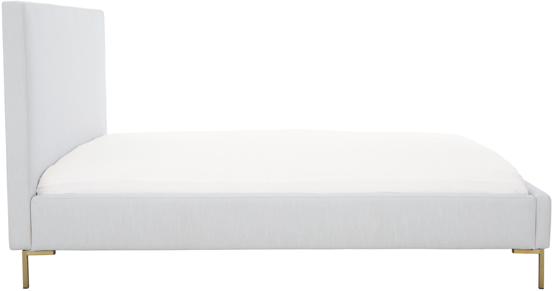 Łóżko tapicerowane z aksamitu Peace, Korpus: lite drewno sosnowe, Nogi: metal malowany proszkowo, Tapicerka: aksamit poliestrowy 3000, Tapicerka: jasny szary Nogi: odcienie złotego, matowy, 200 x 200 cm