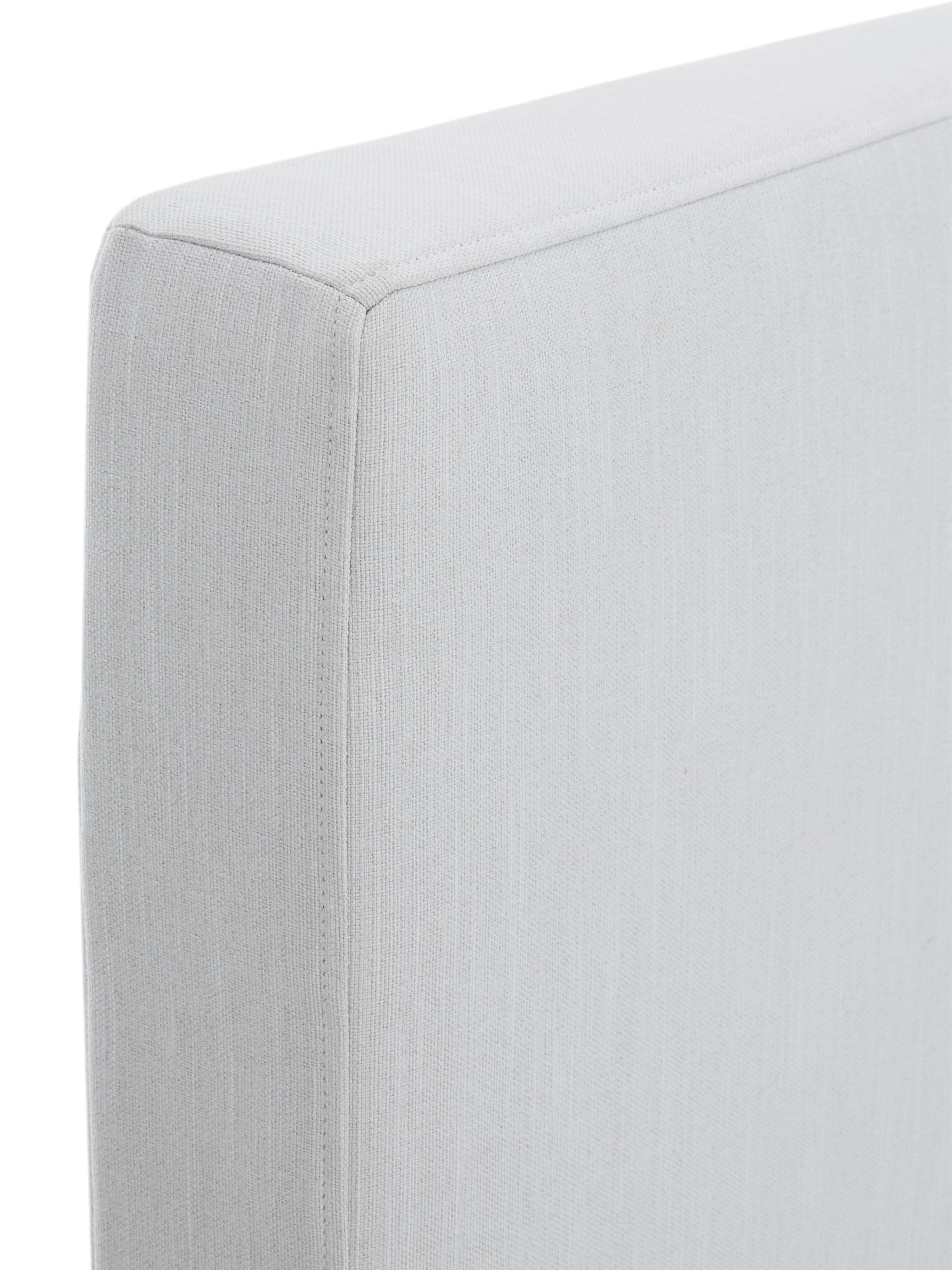 Polsterbett Peace, Korpus: Massives Kiefernholz, Füße: Metall, pulverbeschichtet, Bezug: Polyester (Strukturstoff), Webstoff Hellgrau, 200 x 200 cm