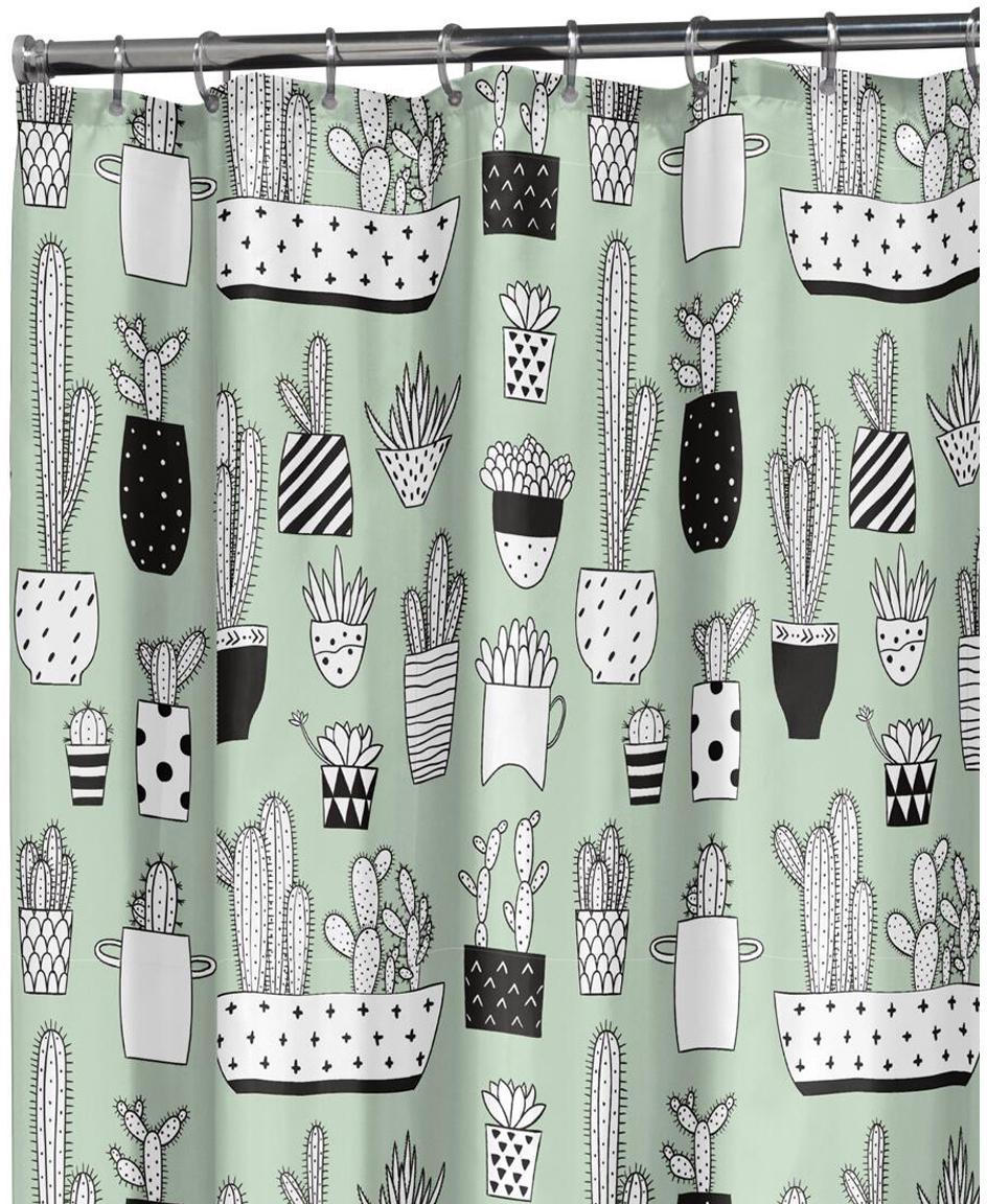 Douchegordijn Cactus met cactus print, Kunststof (PEVA), waterdicht, Groen, zwart, wit, 180 x 200 cm