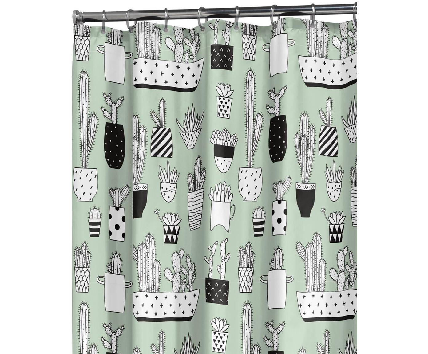 Douchegordijn Cactus met cactus print, Kunststof (PEVA) Waterdicht, Groen, zwart, wit, 180 x 200 cm