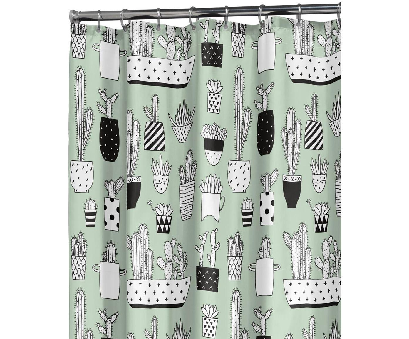 Duschvorhang Cactus mit Kaktus-Print, Kunststoff (PEVA), wasserdicht, Grün, Schwarz, Weiss, 180 x 200 cm