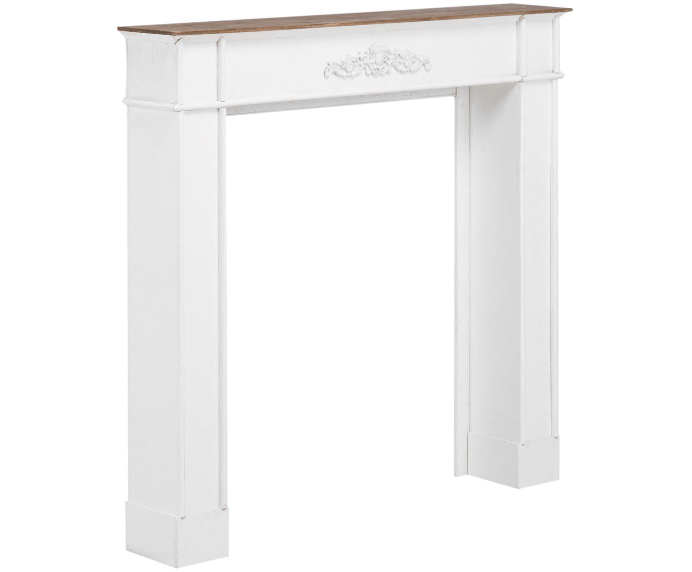 Consolle per caminetto bianca Fabienne, Pannello di fibra a media densità e legno di paulownia, verniciato, Bianco, Larg. 104 x Prof. 18 cm