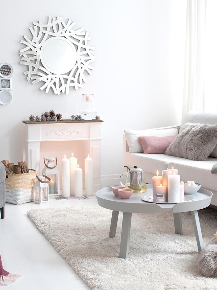 Console de cheminée, blanche Fabienne, Blanc