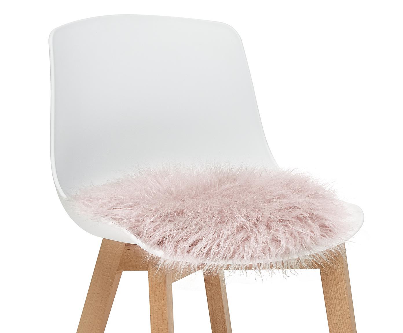 Runde Kunstfell-Sitzauflage Morten, gelockt, Vorderseite: 67% Akryl, 33% Polyester, Rückseite: 100% Polyester, Rosa, Ø 37 cm