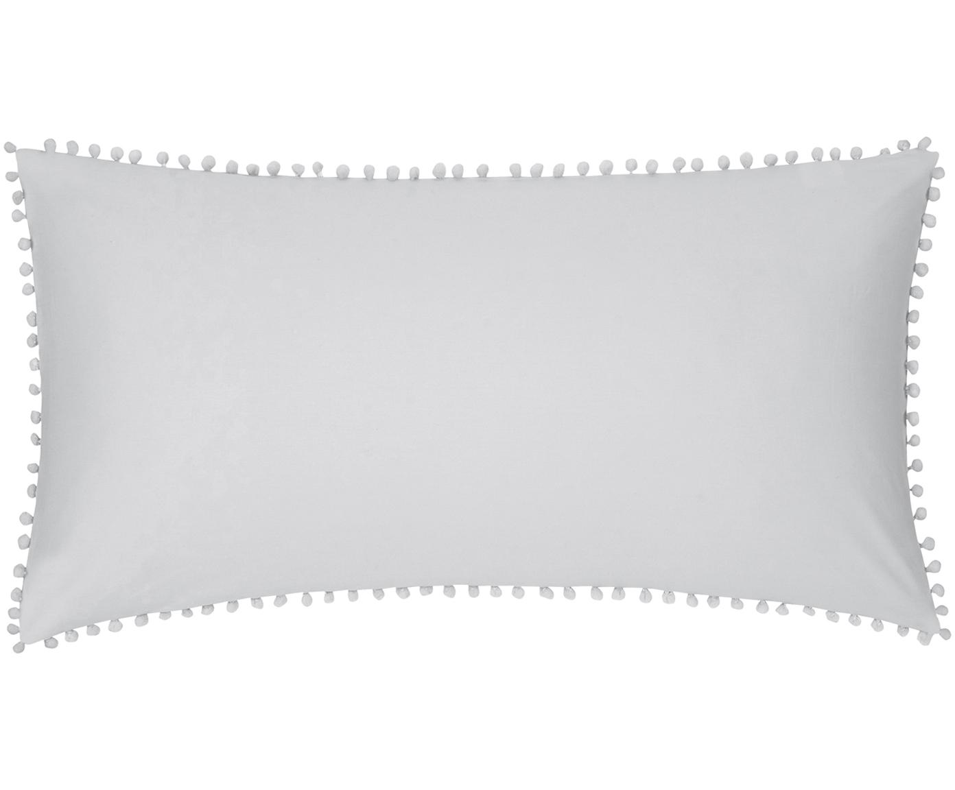 Baumwollperkal-Kissenbezüge Bommy mit Pompoms, 2 Stück, Webart: Perkal Fadendichte 200 TC, Hellgrau, 40 x 80 cm