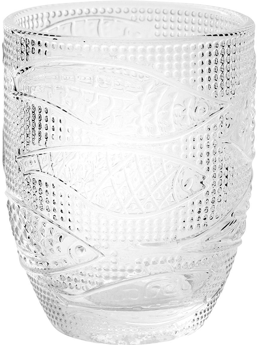 Bicchiere acqua con motivo a pesci Fish 6 pz, Vetro, Trasparente, Ø 9 x Alt. 10 cm
