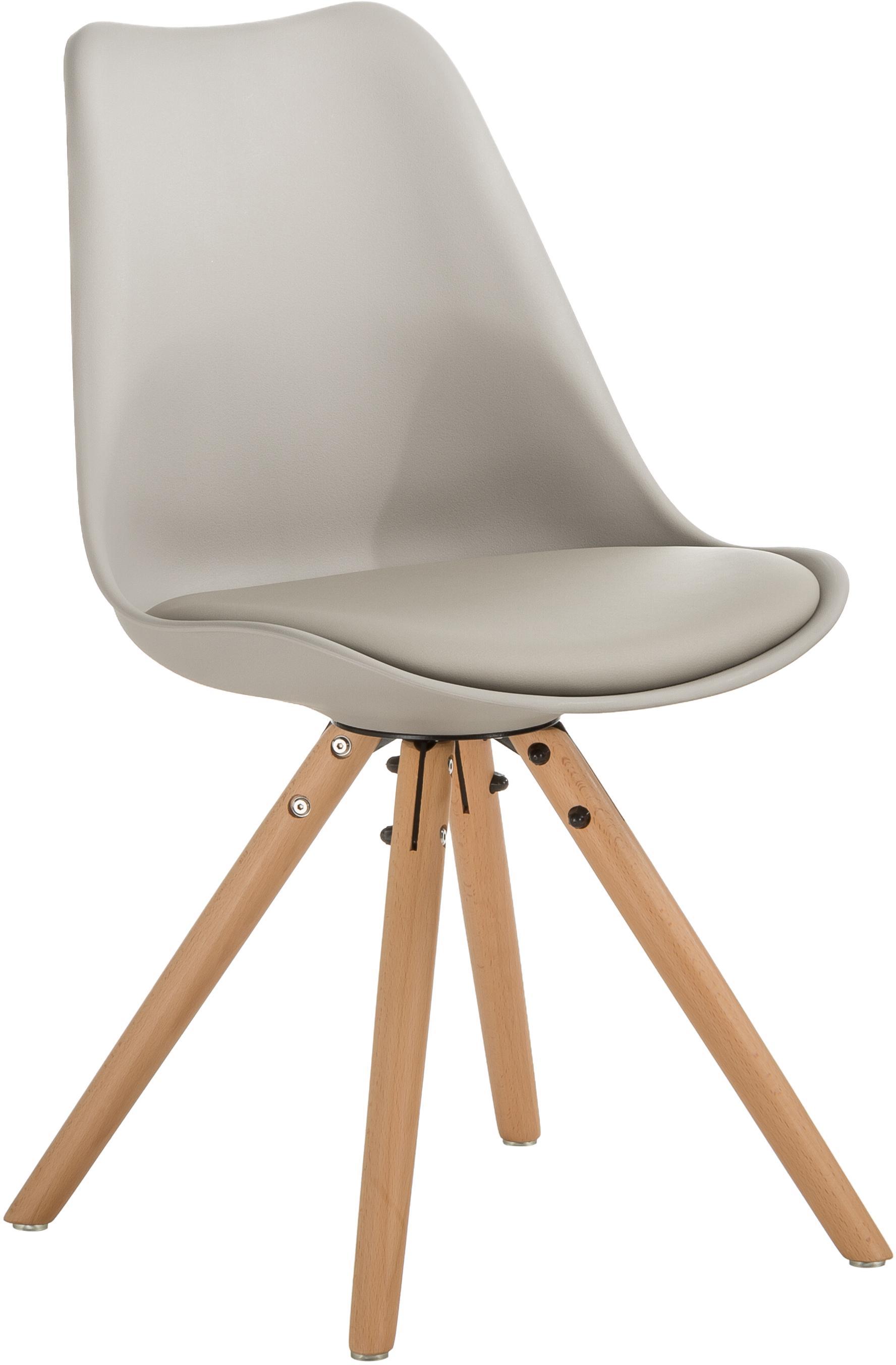 Sillas Max, 2uds., Asiento: cuero sintético (poliuret, Asiento: plástico, Patas: madera de haya, Gris beige, An 46 x F 54 cm