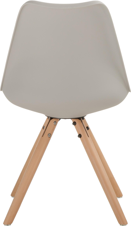 Stühle Max mit Kunstleder-Sitzfläche, 2 Stück, Sitzfläche: Kunstleder (Polyurethan), Sitzschale: Kunststoff, Beine: Buchenholz, Beigegrau, B 46 x T 54 cm