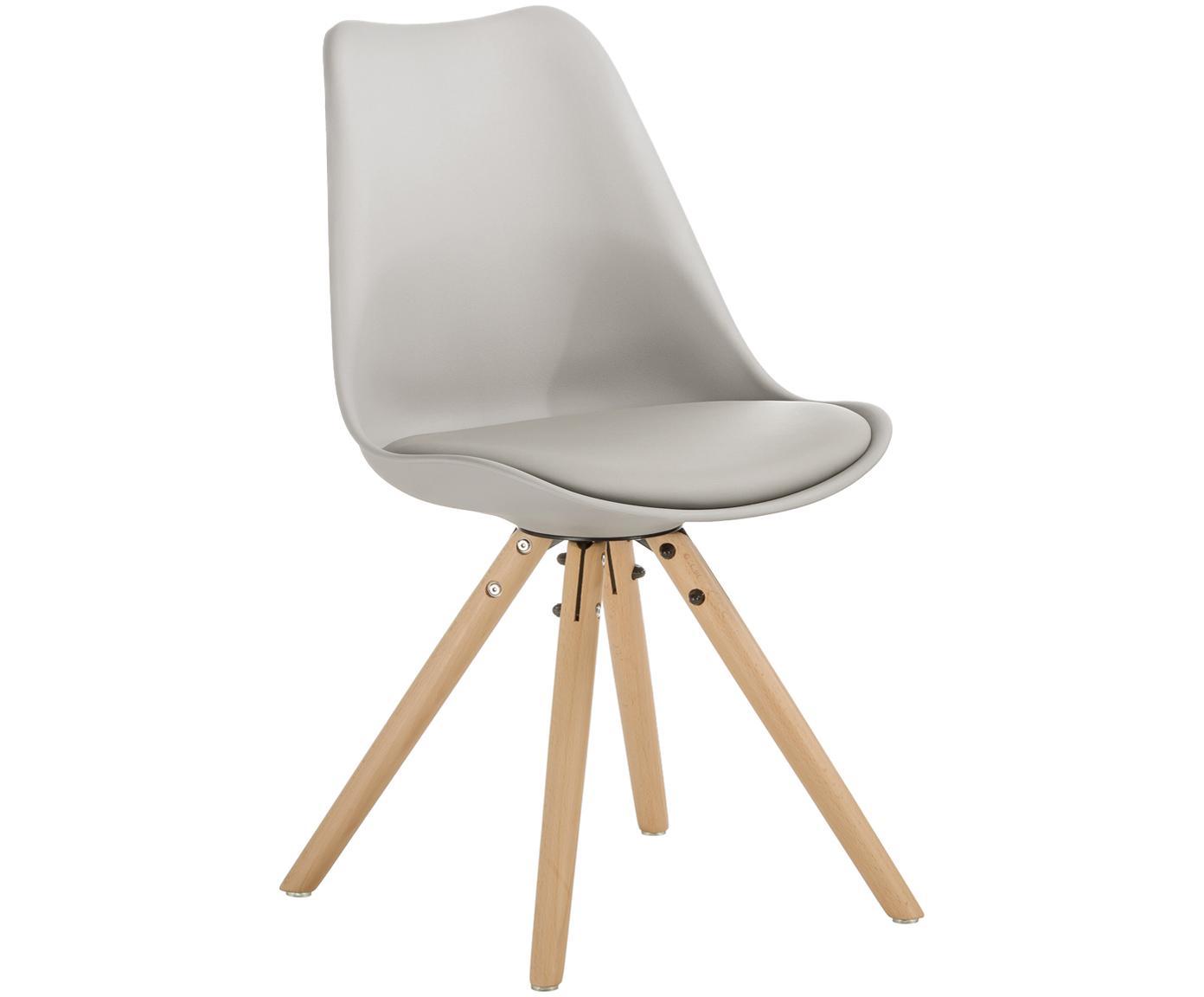 Sedia con seduta in similpelle Max 2 pz, Seduta: similpelle (poliuretano), Seduta: materiale sintetico, Gambe: legno di faggio, Seduta: grigio beige Gambe: legno di faggio, Larg. 46 x Prof. 54 cm