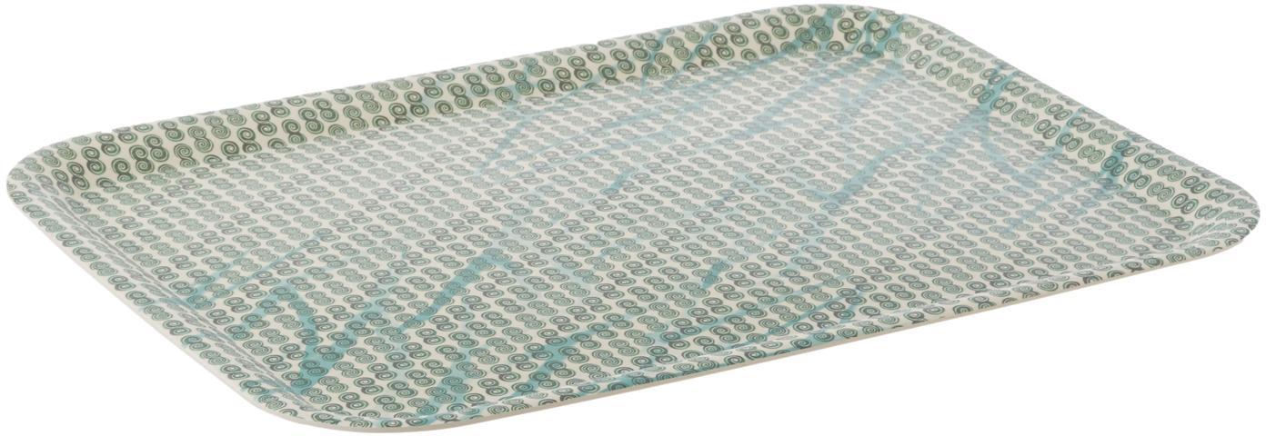 Bamboehouten dienblad Tadpole, Bamboevezels, Wit, groen, blauw, 44 x 33 cm