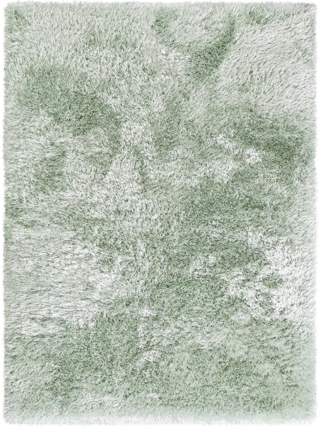 Glanzend hoogpolig vloerkleed Lea, 50% polyester, 50% polypropyleen, Groen, B 300 x L 400 cm (Maat XL)