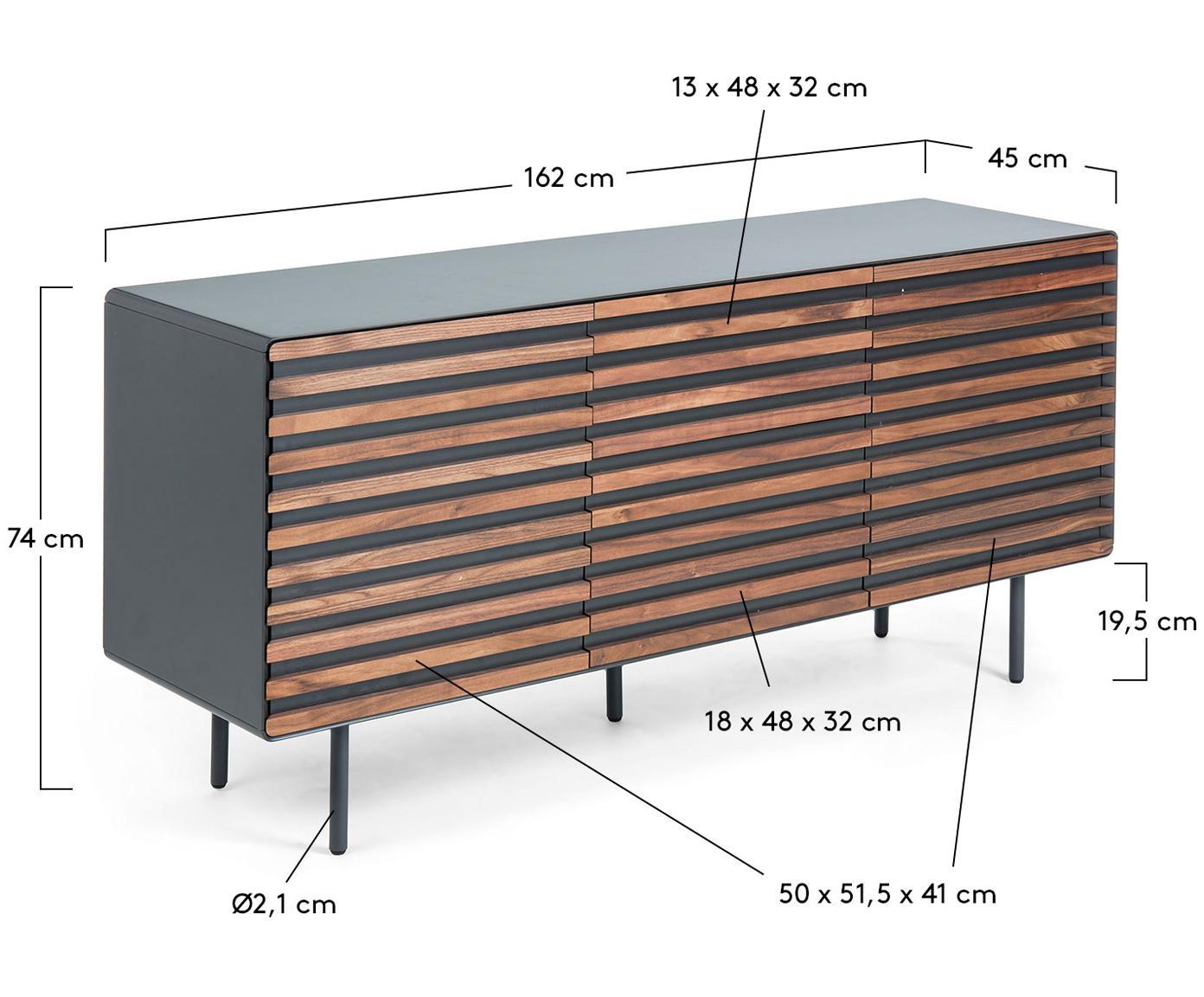 Sideboard Kesia mit Walnussfurnier, Graphit, Walnussholz, 162 x 74 cm