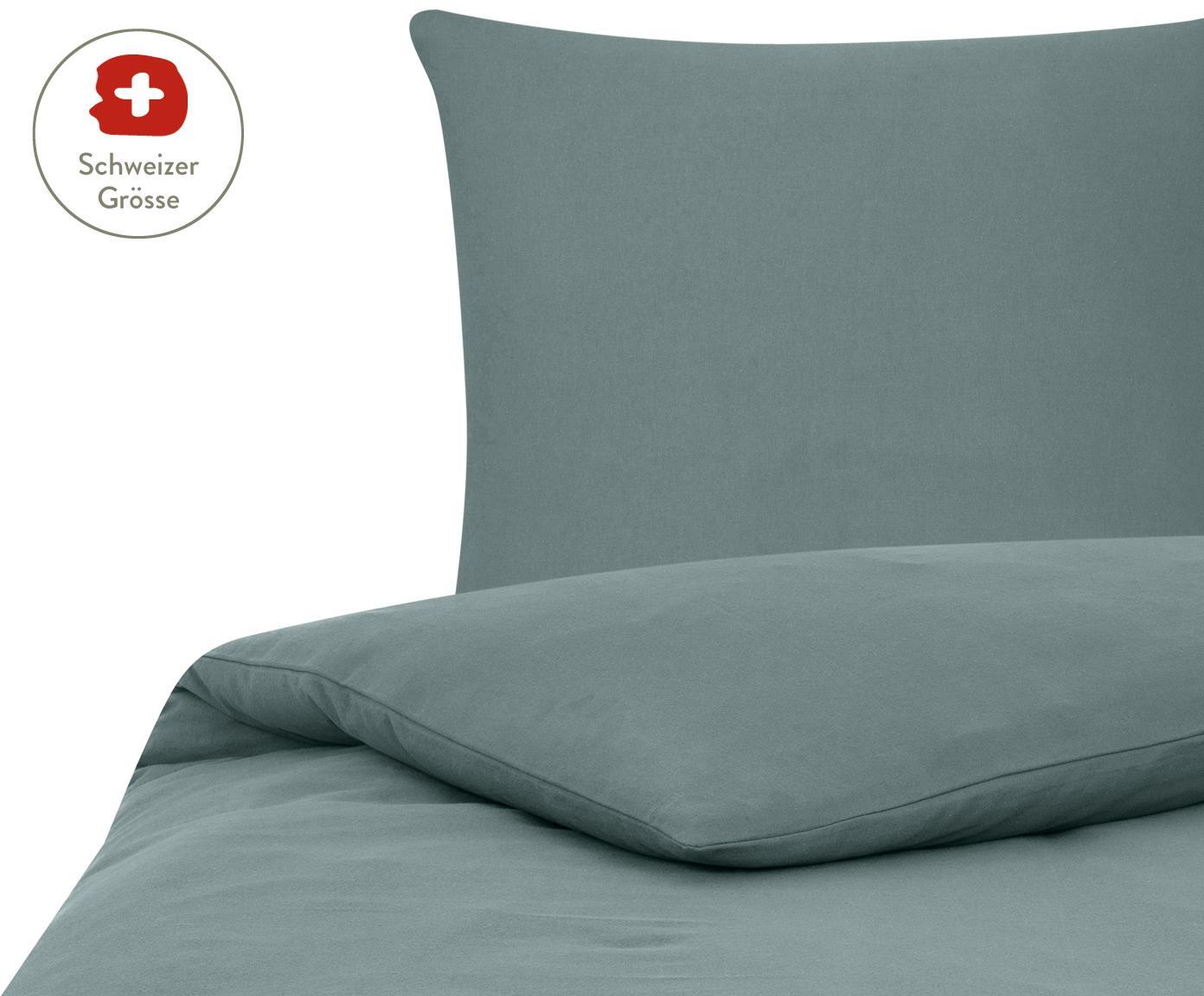 Flanell-Bettdeckenbezug Erica in Dunkelgrün, Webart: Flanell, Dunkelgrün, 160 x 210 cm