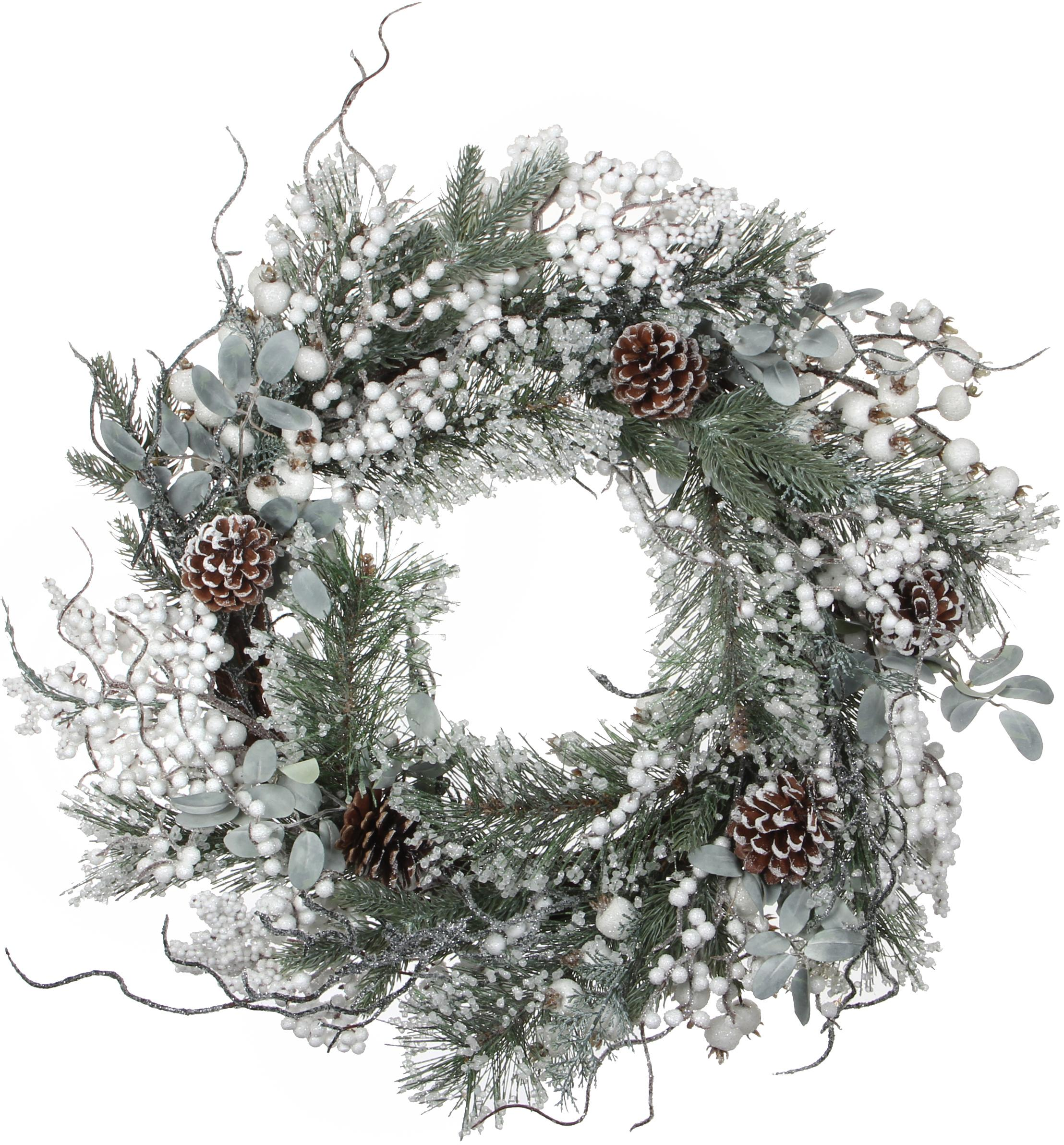 Künstlicher Weihnachtskranz Hardy, Kunststoff, Grün, Weiss, Silberfarben, Ø 50 cm